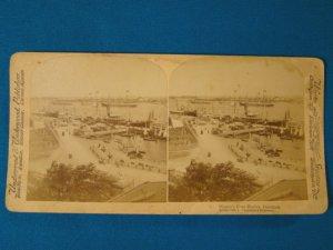 Copenhagen's Busy Harbor Denmark stereoview stereograph stereoscope card Underwood 1897 ships boats