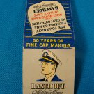 Bancroft Military Caps matchbook cover Navy Zephyr Framingham MA.