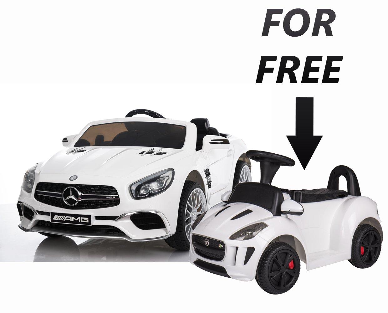 6b88e241d3d9 Electric Car 12V Mercedes Sl65 For Kids LED Lights RC White+ Push Car  Electric 6V Jaguar White Free
