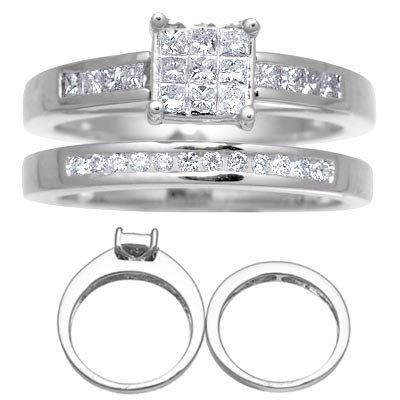 14 K White Gold Diamond Wedding Set Reg $1379