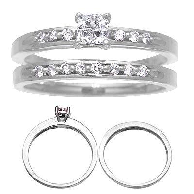 14 K White Gold Diamond Wedding Set 1/3 Carat Reg $802