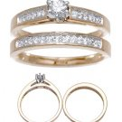 14 K Yellow Gold Diamond Weddng Ring Set Reg $1149
