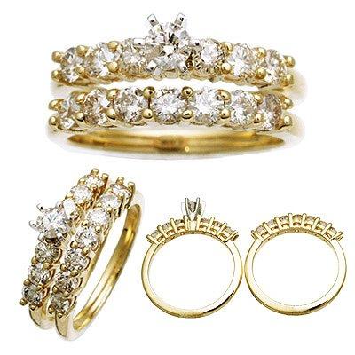14 K Yellow Gold Diamond Wedding Set 1.4 CTW Reg. $2,299