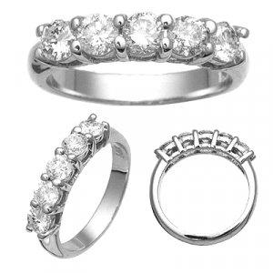 14K White Gold Diamond 5 Stone Anniversary Band. 1.25 Carat Reg. $2,874.99