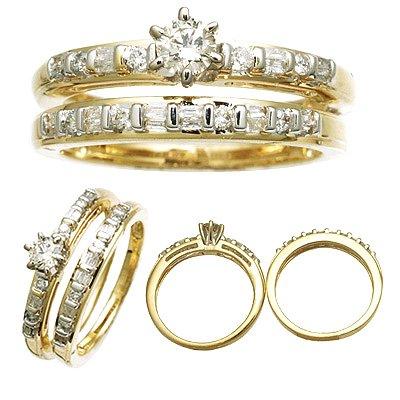 14 K Yellow Gold Diamond Wedding Set 0.60 CTW Reg $1493