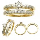 14 K Yellow Gold Diamond Wedding Set 0.60 CTW Reg $1493