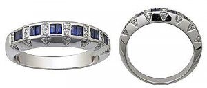 14 K White Gold Diamond and Sapphire Ring Reg $804