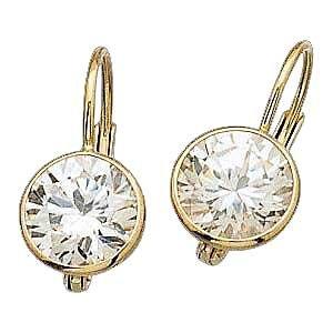 Stunning 14 K Gold Leverback Earrings w/ Created Diamonds Reg $114.99