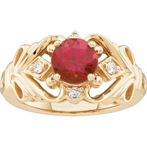 14 K Gold Genuine Rhodolite Garnet and Diamond Ring Reg. $621