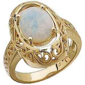 14 K Gold sculptured Oval Opal Cabochon Ring Reg. $529