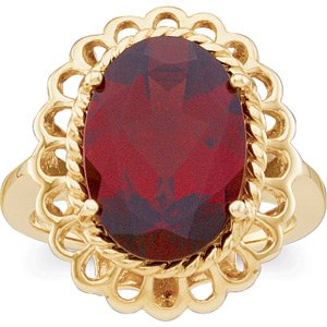 14K Gold Sculptured Mozambique - Garnet Ring Reg $563