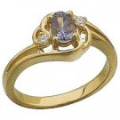14 K Yellow Gold and Genuine Tanzanite and Diamond Ring $551.99