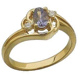 14 K Yellow Gold and Genuine Tanzanite and Diamond Ring $551.99