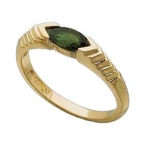 14K Yellow Gold Pyramid Sculptured Ring with Genuine Green Tourmaline Reg $299