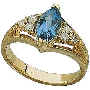 14K Gold and Genuine Swiss Topaz and Diamond Ring Reg $621