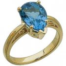 14K Gold Sculptured Ring With Genuine Swiss Topaz Reg $276