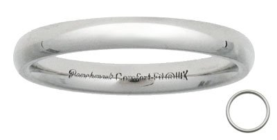 Benchmark - 3mm White Gold Comfort Fit Wedding Band Reg $206