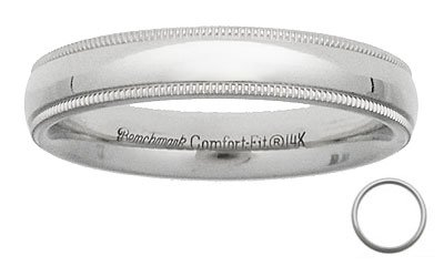Benchmark - 4mm Comfort Fit 14 K White Gold Milgrain Reg $229