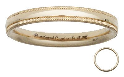 Benchmark - 3mm Comfort Fit Milgrain 14 K Gold Band Reg $218