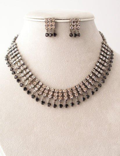 Necklace Earring Set - Clear/Jet/Pewter Reg $49.99