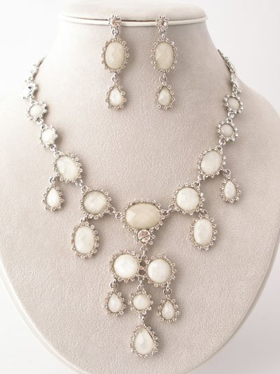 Magnificent White Simulated Opal with CZ Necklace/Earring Set Reg $89.99