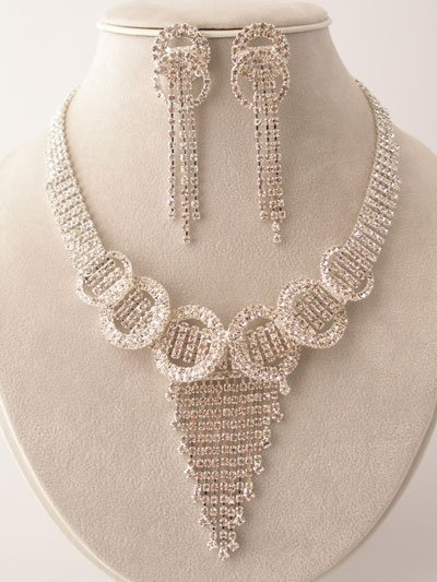 Stunning Cascading Circle Necklace/Earring Set $129.99