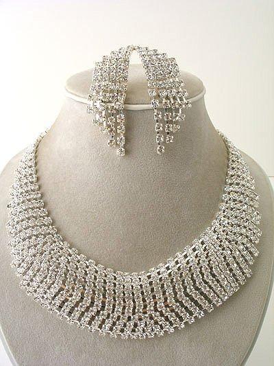 """""""Cleopatra"""" Rhinestone Necklace/Earring Set Reg $139"""