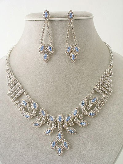 """Elizabeth"" Magnificent Necklace/Earring Set Ice Blue Reg $69.99"