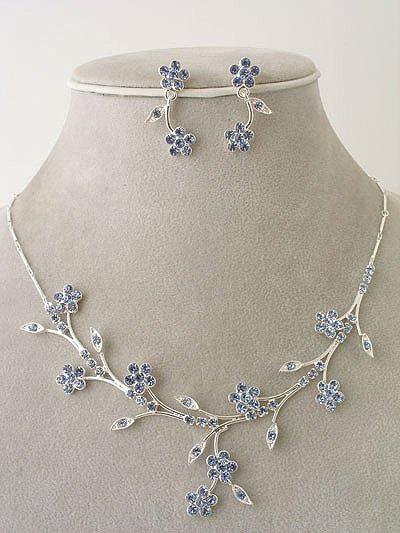 """Bridal Party"" Designer Flower Necklace/Earring Set Ice Blue Reg $49.99"