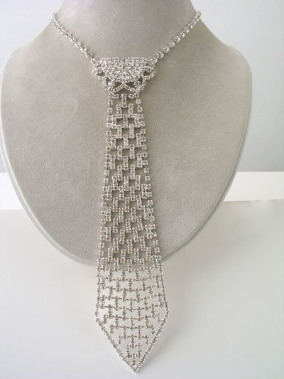 HK Design Necktie in Clear Rhinestones Reg $73.99