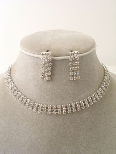 3 Strand Evening Wear Necklace/Earring Set Reg $42.99