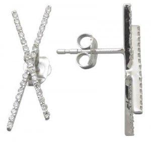 Awesome Genuine Diamond X Earrings Reg $543