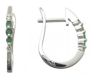 Genuine Emerald and Diamond Hoop Earrings Reg $263
