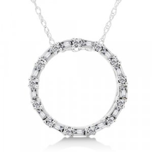 1/5 Carat Diamond Circle Necklace - White Gold Reg $199