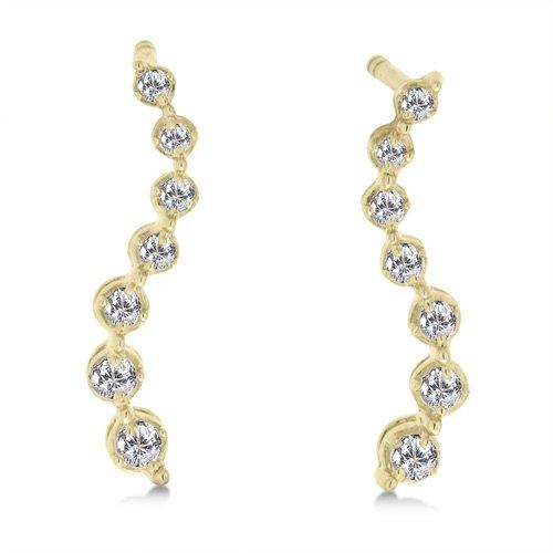 1/5 Carat Diamond Journey Earrings - Yellow Gold Reg $179
