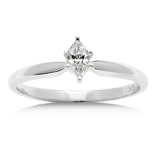 1/5 Carat Diamond Marquise Engagement Ring - White Gold $429