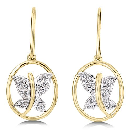 1/8 Carat Diamond Yellow Gold Butterfly Earrings Reg $199