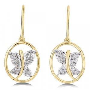 1/8 Carat Diamond Yellow Gold Butterfly Earrings Reg $199