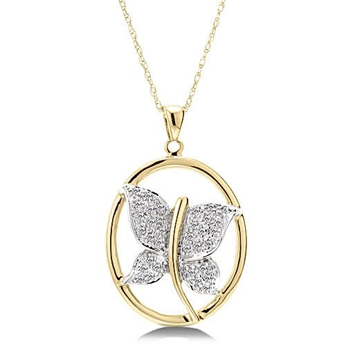 1/8 Carat Diamond Butterfly Necklace - Yellow Gold Reg $189