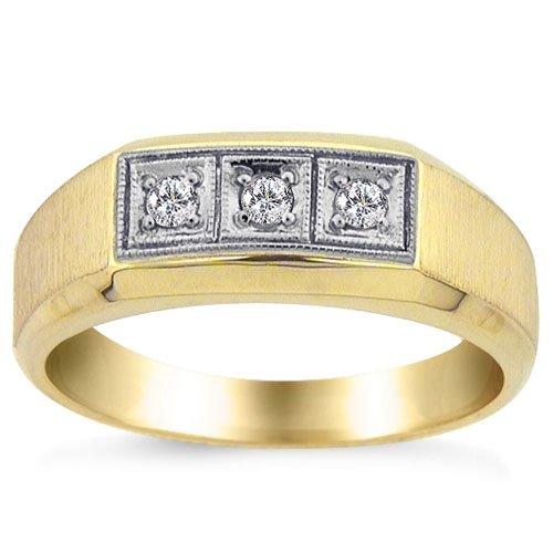 1/8 Carat Diamond Mens Ring in Yellow Gold Reg $399