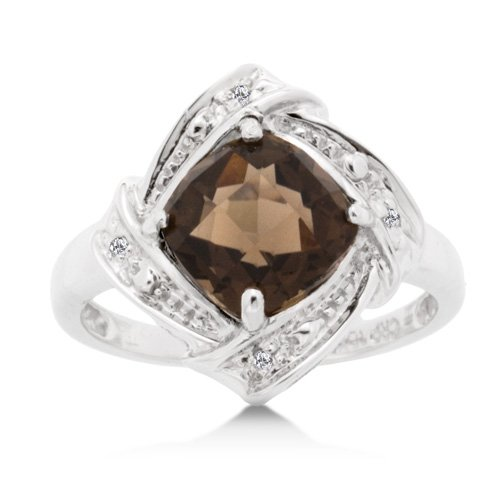 1 3/4 Carat Smokey Quartz and Diamond Accent White Gold Ring Reg $299