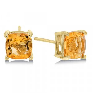 1.6 Carat Citrine Cushion Cut Stud Earrings in Yellow Gold Reg $149