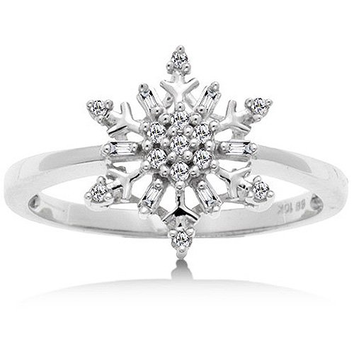 1/10 Carat Diamond Snowflake Ring in White Gold Reg $189