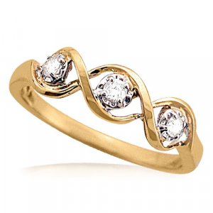 1/8 Carat Diamond Swirl Ring in Yellow Gold Reg $249
