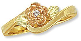 Black Hills Gold Ring with Genuine Diamond Reg $240