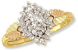 Black Hills Gold Ring with Genuine Diamonds. 0.33 CTW Reg $799