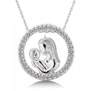 1/5 Carat Diamond Mother & Baby Pendant - White Gold Reg $249