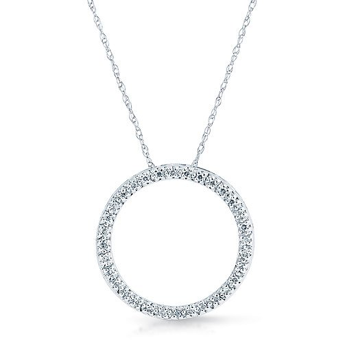 ".1 Ct Diamond ""Circle of Love"" White Gold Necklace Reg $279"
