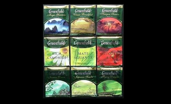 GREENFIELD TEA COLLECTION OF NINE TEAS TEA BAGS IN FOIL SEALED ENVELOPES