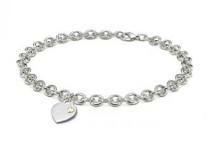 14k White Gold Heart Tag Necklace With Diamond Accent, 3mm